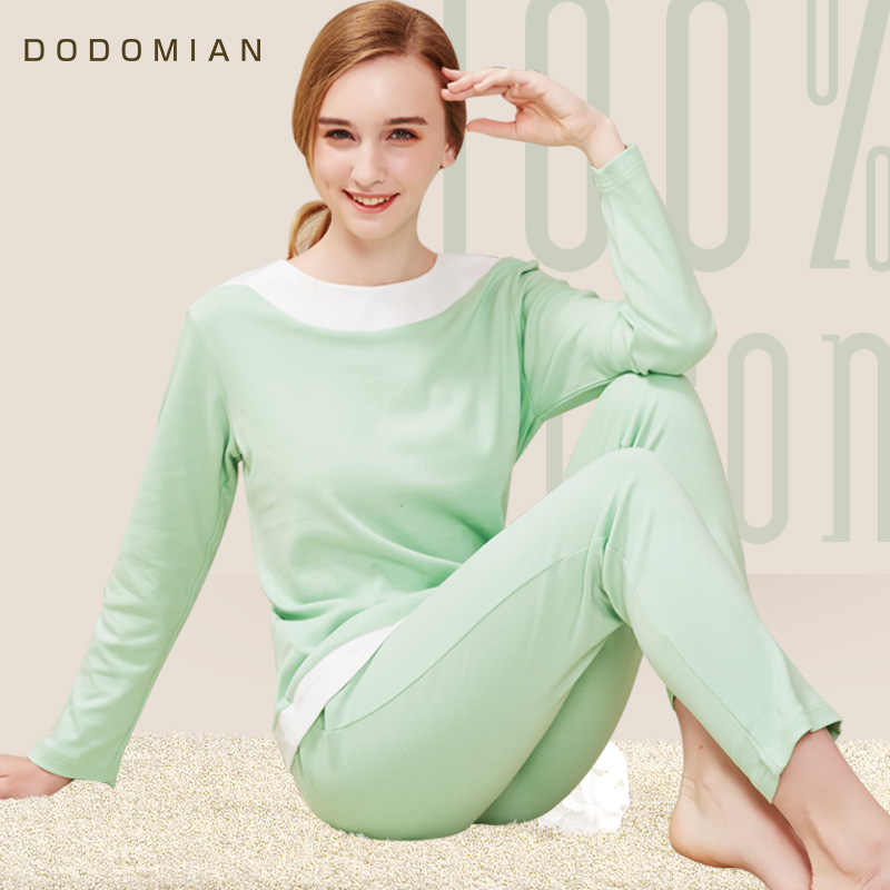 DO DO MIAN Female Pajama Sets Light Green Cotton Nightwear Patchwork Loose  Housing Clothing Suit T 3192e6246