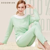 FAÇO MIAN Femal Habitação Roupas Pijamas De Algodão Conjuntos De Pijama Luz Verde Patchwork Solto T shirt do Terno + Calças mais tamanho M-XL
