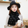 New Women Autumn winter plush scarf muffler Warm Double Pearl leather decor Scarves 2017 Hot Sale promotion high quality Wraps