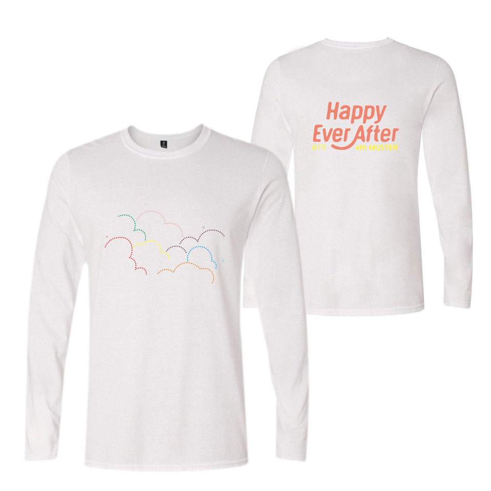 BTS Happy Ever After 4th MUSTER Full Sleeves T Shirts Men s BTS Group  Bangtan Boys Cotton O-Neck T-Shirt Tops Black White