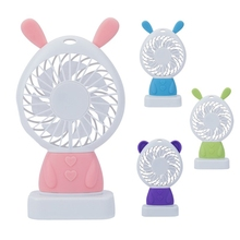 Free_on Portable Rabbit Handheld Mini Fans Air Cooler USB Electric LED Night Light Desk