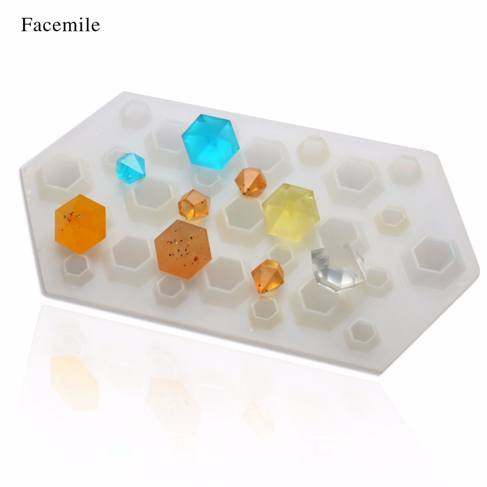 Facemile 6 Square Stripes Diamond Mold Ice Cube Tray Crystal Silicone  Pendant DIY Molds Resin Accessories For Jewelry 50-358