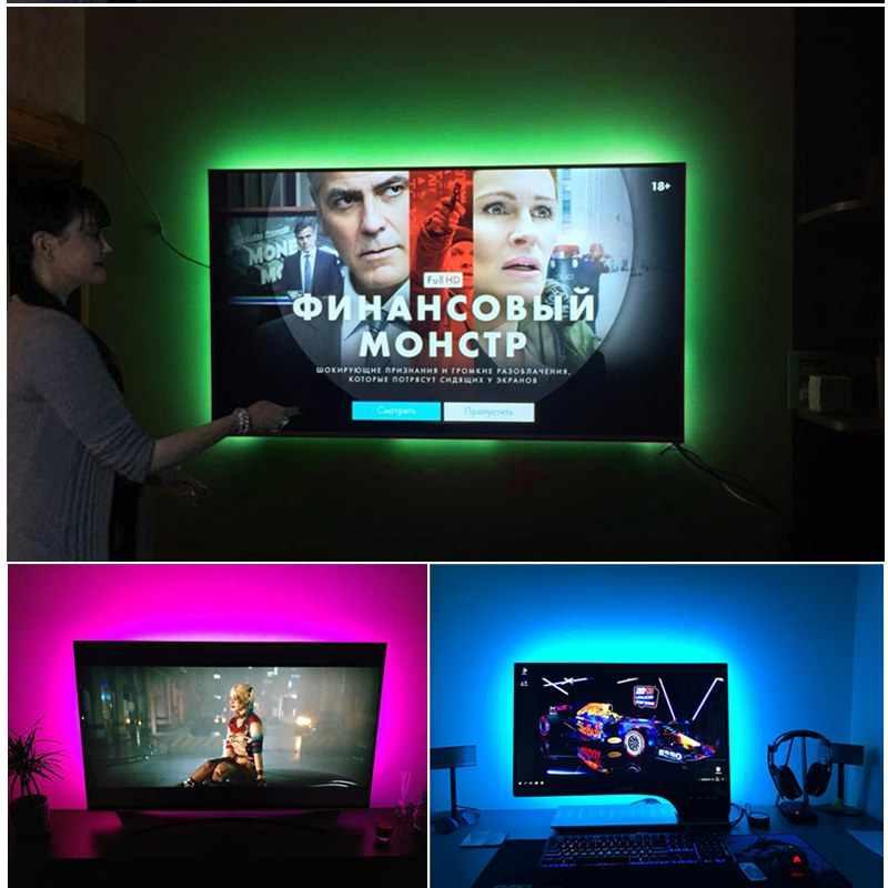 Luz da cozinha LIDERADA 1 M-5 M RGB Diodo Emissor de Luz Com As Chaves Remotas 24 DC5V Fita Flexível do DIODO EMISSOR de luz fita Backlight TV Luzes de Decoração de Mesa PC