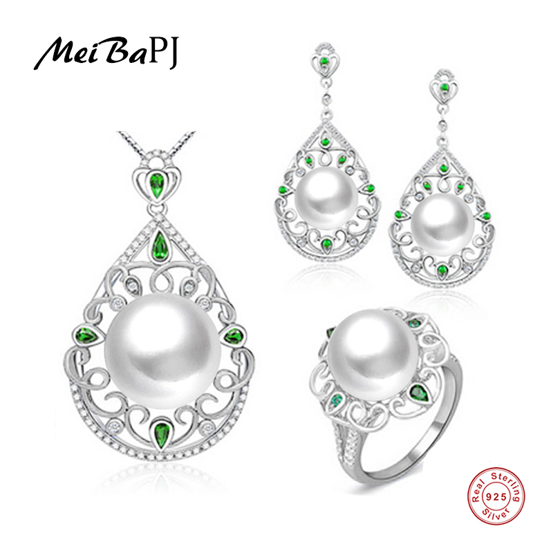 MeiBaPJ High end Custom NEW Top Quality 100 Genuine Freshwater Pearl Jewelry Sets For Women 925