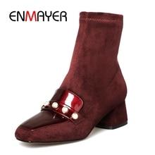 купить ENMAYER New Fashion women square toe zipper ankle boots women color block high heel boots Big size 34-39 ZYL948 дешево