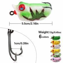 Sougayilang 6pcs New Mini Lifelike Soft Plastic Frog Fishing Lure 13g/pcs Crank Baits Hook Bass Minnow Fake Bait Fishing Tackle