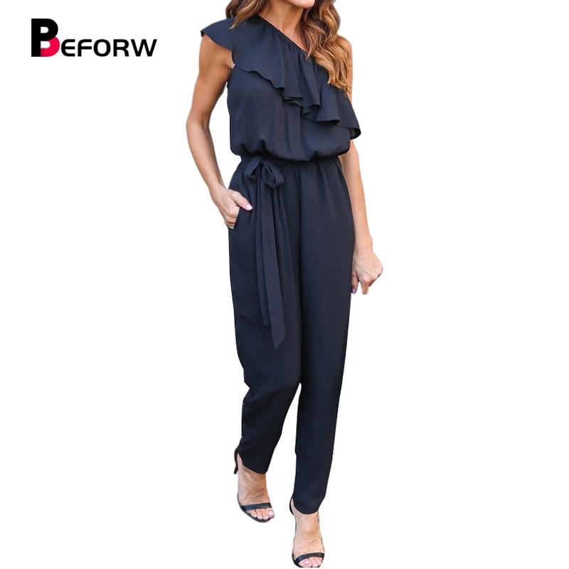 BEFORW 2018 Women Black Chiffon   Jumpsuit   Fashion Women One Shoulder Long Pants Summer Ruffles Casual Club Overalls Size S-XL