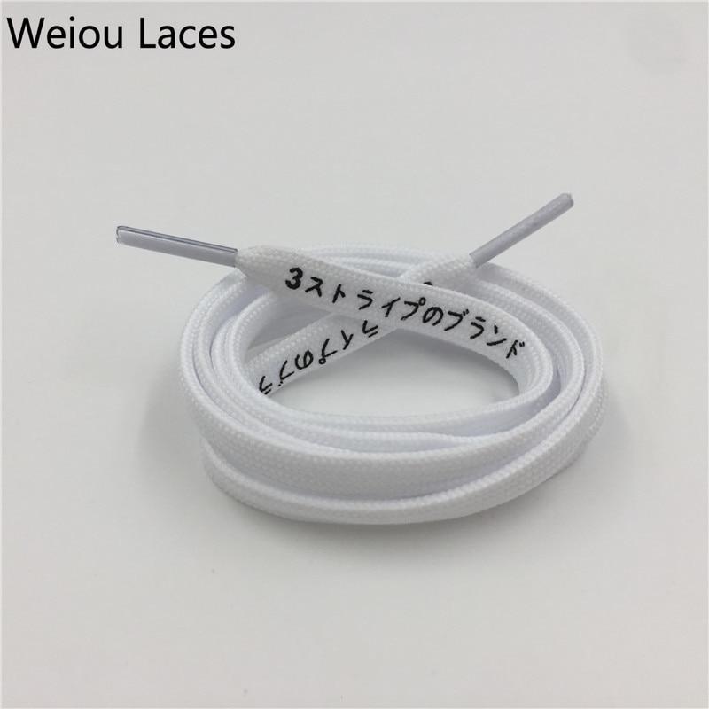 "Купить с кэшбэком Weiou Tubular Flat Printed ""3 Stripes"" Japanese Katakana Off Inspired Handmade White Shoelaces Black White Printing For Sneakers"