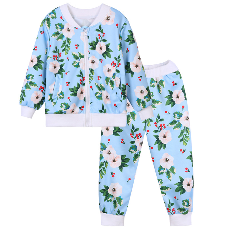 2018 New Children Boys Girls Spring Floral Baseball Coats+Pants Sports Tracksuit Suit Set For Kids Girls Boys Clothing 2-11Y 47 недорого