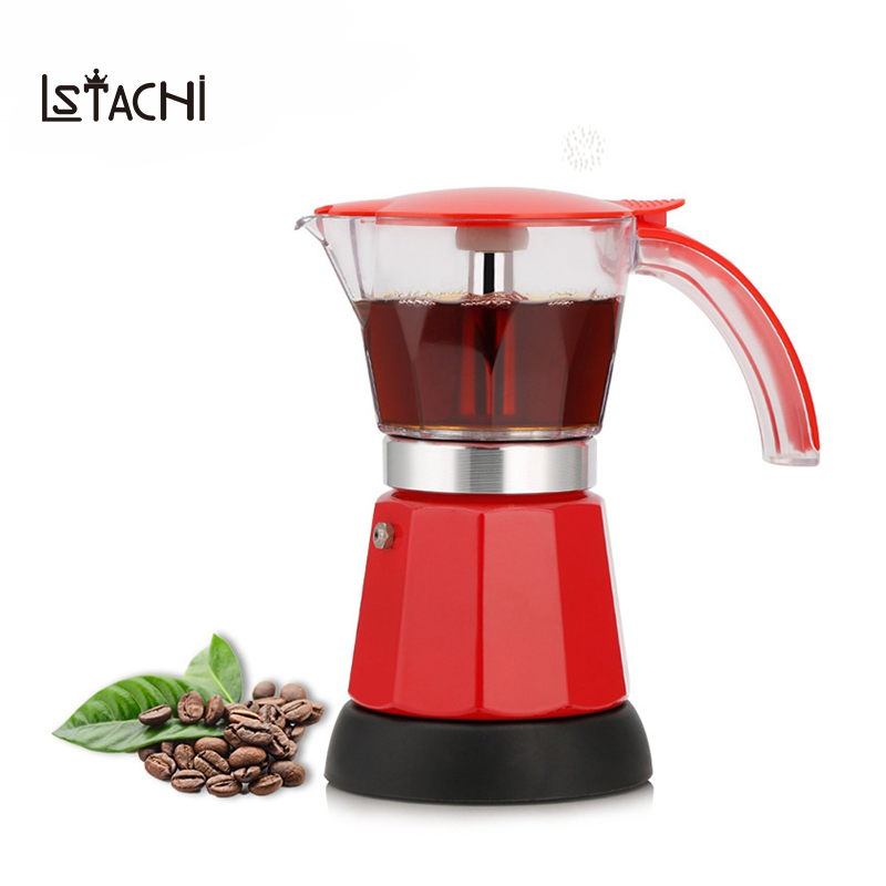 LSTACHi Electrical Espresso Moka Pot Percolators Italian Mocha Coffee Maker 220V Stovetop Tool Filter Percolator Cafetiere stainless steel coffee pot moka coffee maker teapot mocha stovetop tool filter percolator cafetiere percolator tool