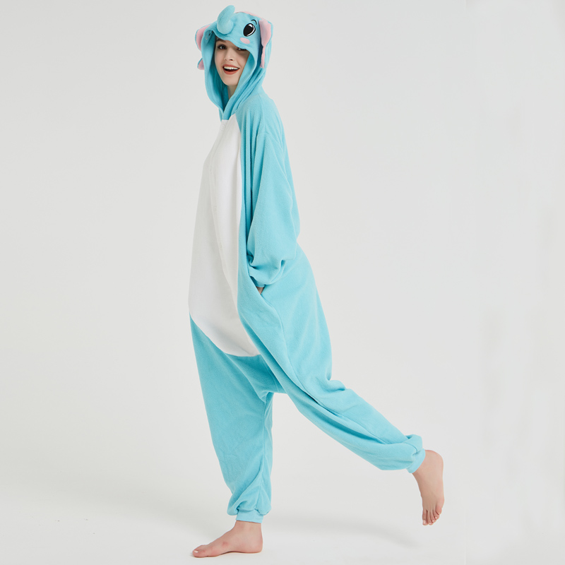 Elephant Adult Pajamas Polar Fleece Onesies Kigurumi For Halloween Pink One-piece Jumpsuit Siamese Cosplay Custome (6)