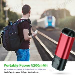 Image 2 - Bank mocy 5200 mAh przenośna ładowarka do telefonu komórkowego 3 In1 bezprzewodowa ładowarka banku mocy dla iPhone AirPods Apple Watch Series 4/3/2/1