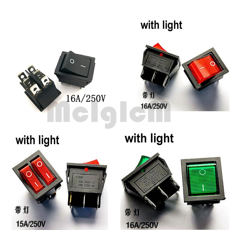 цена на Black Rocker Switch AC 250V 16A / 125V 20A / 15A 250V 6 Pin ON-OFF SPST SPDT DPDT Snap in 2 way with Green Red Led Light 25*31mm