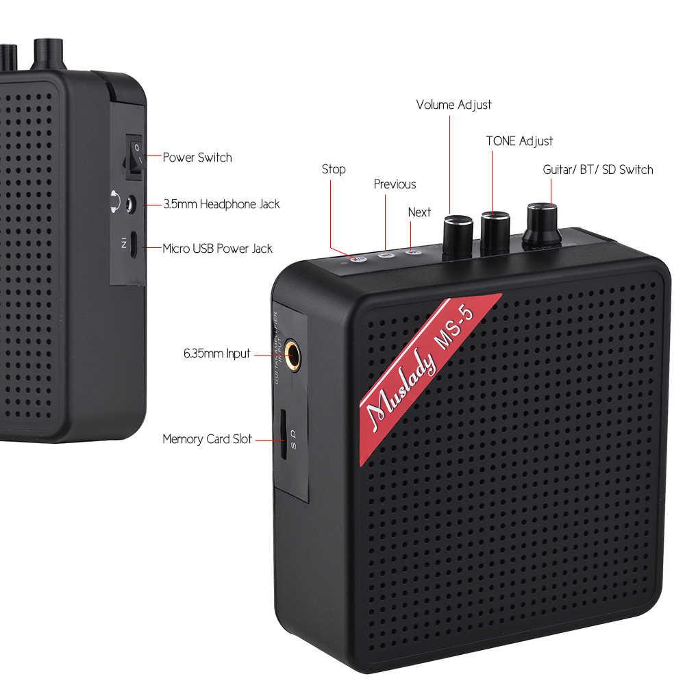 Muslady MS-5 Xách Tay Mini Guitar Amplifier Amp Loa 5 wát Hỗ Trợ BT Kết Nối với Memoey Khe Cắm Thẻ Đầu Ra Tai Nghe