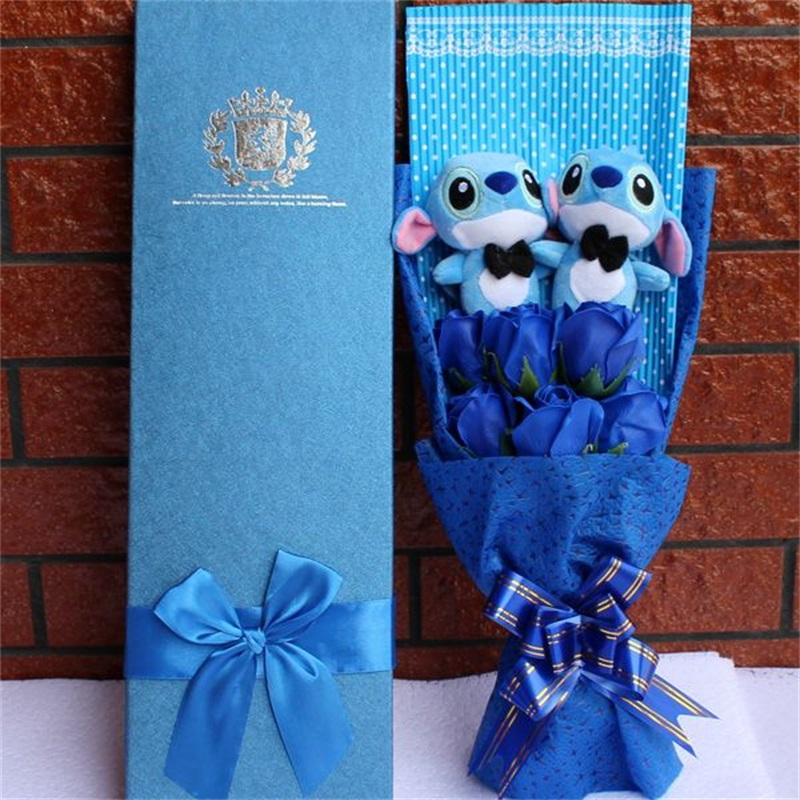 Small Plush Lilo Stitch Bouquet with Artificial Roses with gift box