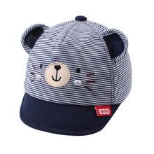 Cartoon Bear Baby Boys Cap Cotton Toddler Baseball Caps With Ears Cute Embroidery Girls Autumn Clothings