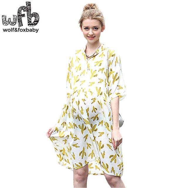 Retail Pregnant women dress Large size Mandarin collar Cotton and linen half-sleeve printing cactus dress  summer