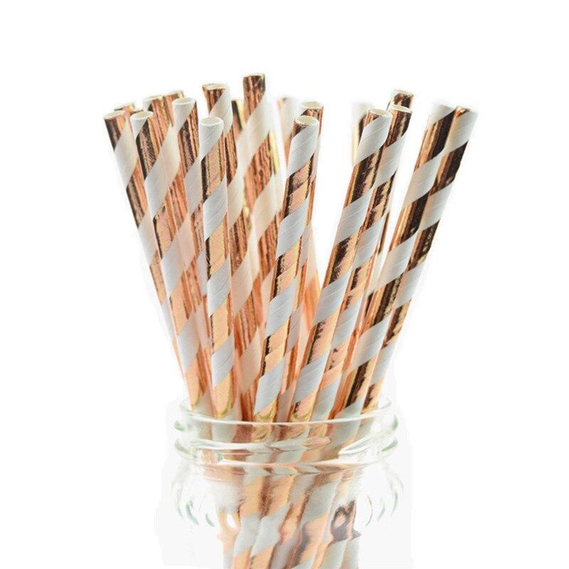 25pcs/lot New Foil Striped Rose Gold Paper Straws Kids Birthday Party Wedding Decoration Bridal Shower Drinking Paper Straws DIY