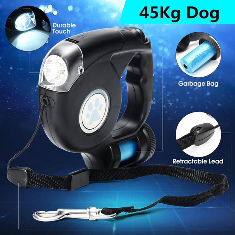 3 In 1 Pet Dog Retractable Extendable Leash Lead LED Flashlight w// Garbage Bag