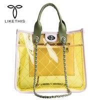 Women Summer Tote Beach Transparent PVC Double Shoulder Tape Clear Handbag Shopping Jelly Satchel Clean Grid Travel Beach Bag
