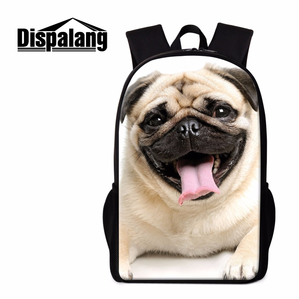 Dispalang Cute Pug Dog Backpack for Children Trendy 3D Print School Bookbags for Girls Personlized Lightweight Back Pack Mochila