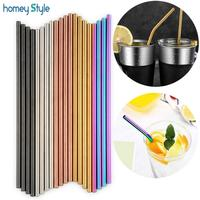 Wholesale 100 Pcs/lot Metal Straws Set Colorful Reusable Stainless Steel Tubes E co Friendly Drinking Straws For 20/30 oz Mugs