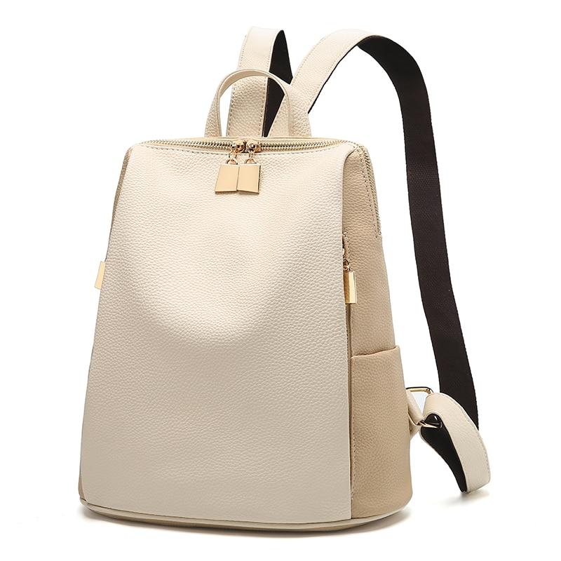 Donne Zaino per la Scuola di Stile del Sacchetto di Cuoio Per Il College Semplice Delle Donne di Disegno Casual Daypacks mochila Femminile Famoso Brands168-325