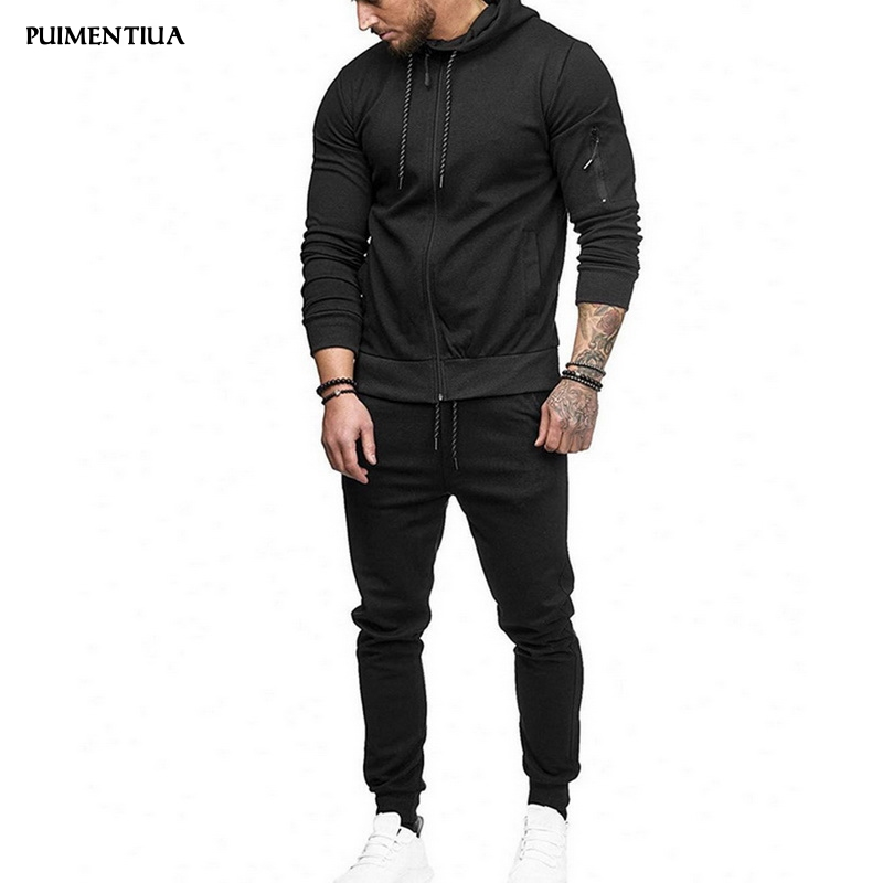 Puimentiua 2019 Men's Hoodie Long Sleeves Suits Solid Slim Fit Zip-Up Outdoor Tracksuit Sets (Pants+Tops) Two Pieces Males