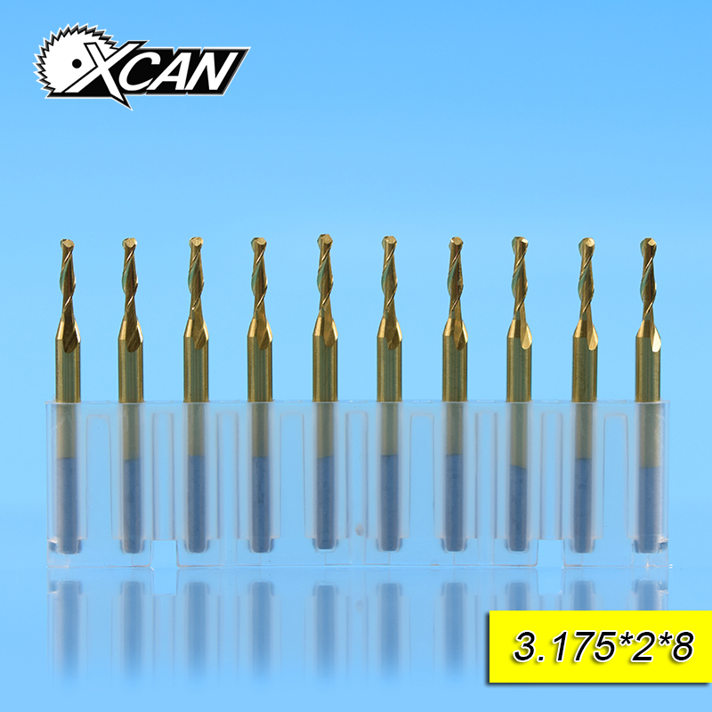 XCAN 2.0mm TICN coating ball nose end mills with 8/15/17/22mm Spiral router bits 3.175mm shank millng cutter CNC engraving tools free shipping 10pcs 6x25mm one flute spiral cutter cnc router bits engraving tool bits cutting tools wood router bits