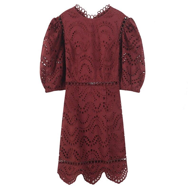 Évider white Dos Robe Mini Dentelle Vocation Nu Black Blanc Femmes Automne Noir burgundy Rouge p1xSqwHH