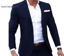 (Jacket+Pants) Luxury Men Wedding Suit Male Blazers Slim Fit Suits For Costume Business Formal Party Navy Classic suits