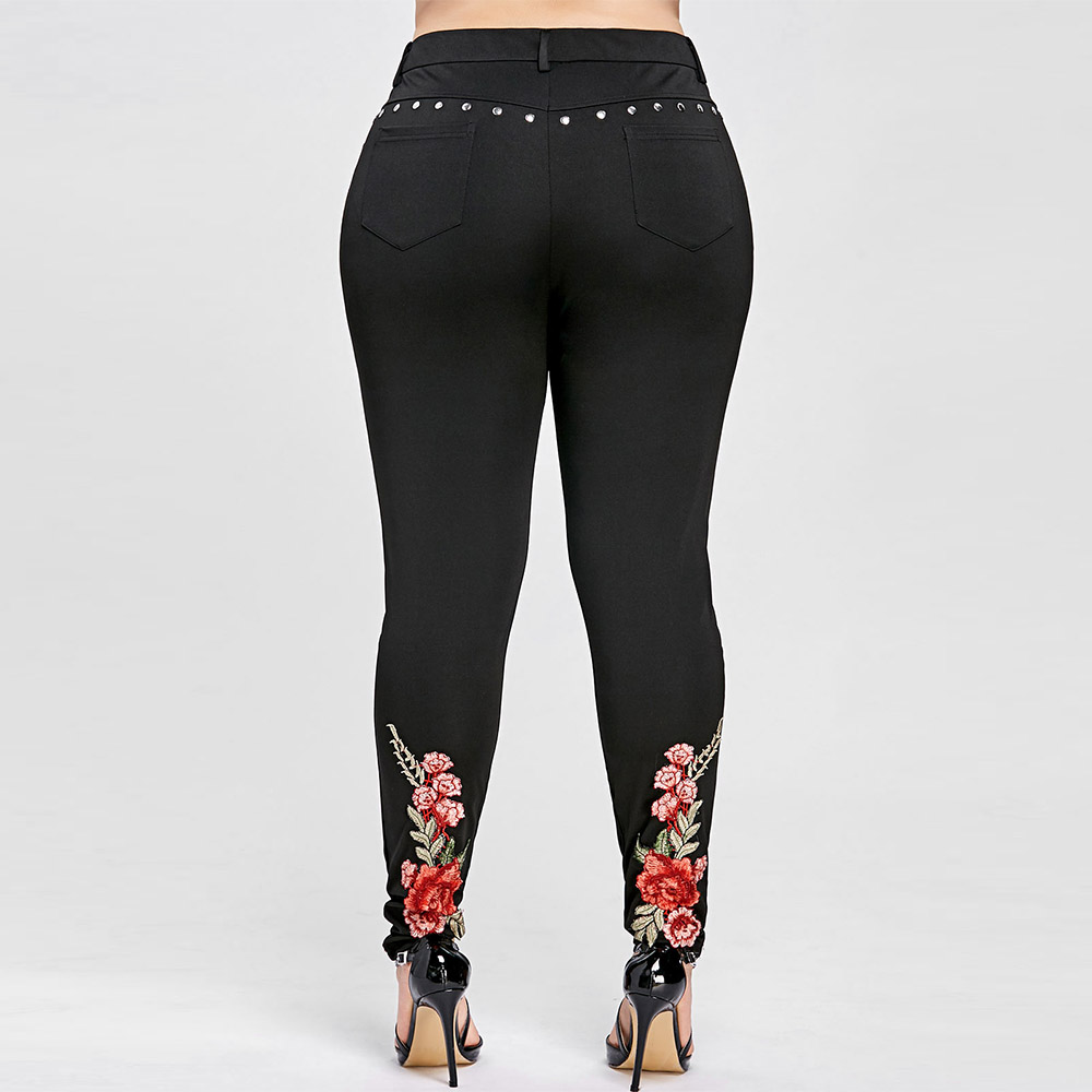 ROSEGAL Plus Size Floral Embroidery Rivet Pencil Pants Women   Leggings   Skinny High Elastic Women Trousers Big Size Ladies Pants