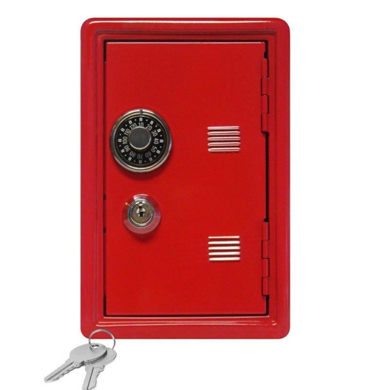 Rectangular Metal Mini Safe Password With Key Piggy Bank Safe Shape Child Piggy Bank