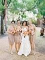 Sparkling Rose Gold Sequined Bridesmaid Dresses V-Neck Knee Length Short Wedding Party Dress Gowns Vestido de noiva de casamento