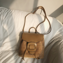 Straw woven womens bag backpacks 2019 new Korean version fashion holiday small beach