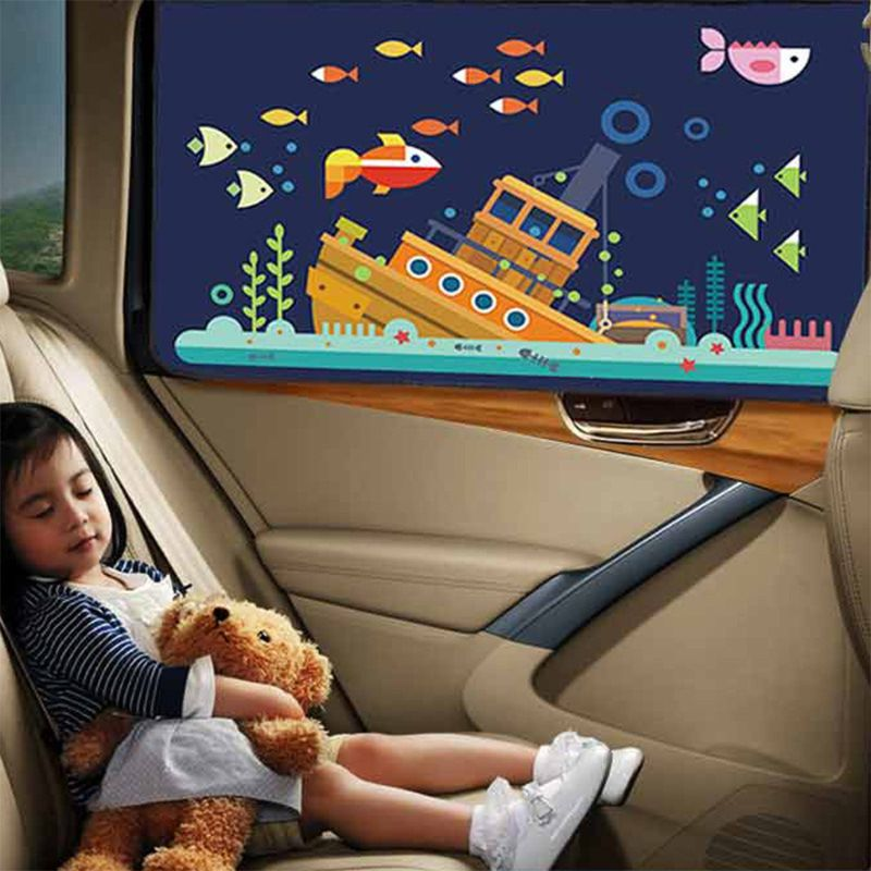 Image 2 - Cartoon Car Magnetic Sunshade Sunscreen Insulation Car Curtain Sun Visor Side Window Sunscreen-in Side Window Sunshades from Automobiles & Motorcycles