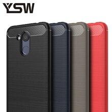Ysw для Huawei Honor 6C Pro Чехол углеродного Волокно мягкие ТПУ щеткой антидетонационных задняя крышка телефоны чехол для huawei Honor V9 играть Cover