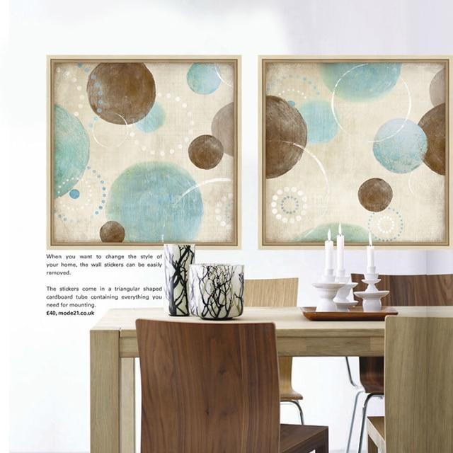 Lichtblauw, beige en bruin cirkels moderne abstracte schilderen ...