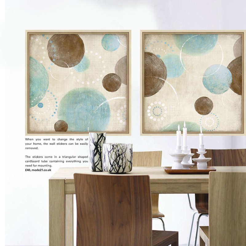 Light blue, beige and brown circles modern abstract oil painting canvas wall art decorative artist for living room home decor