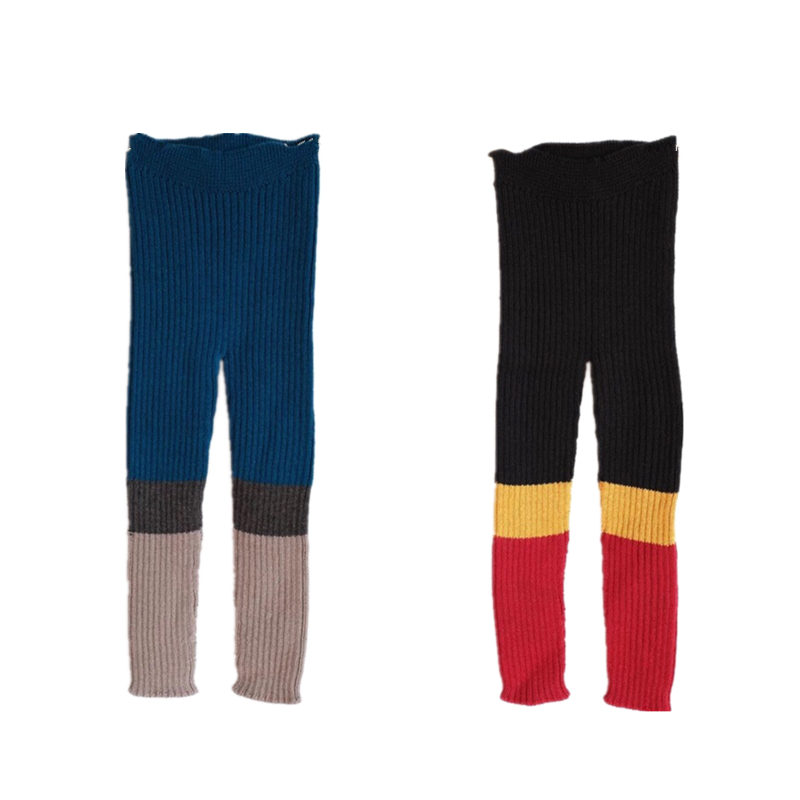BOBOZONE Patchwork 3 colors Knitted Legging 70% cottons and 30% Wool  BOBOZONE Patchwork 3 colors Knitted Legging 70% cottons and 30% Wool
