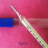 5 Pcs Set Baby Mercury Thermometers Glass Safety Accurate Mercurial Medical Children Heating Body Temperature Fever
