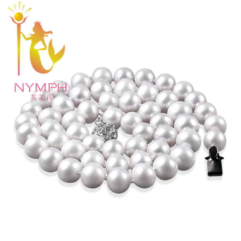 [NYMPH]Freshwater Pearl Necklace Pearl Jewelry Natural White Near Round Pearl Necklace Choker Necklace For Women Fine NYX1016 [zhixi] freshwater pearl necklace fine jewelry white real pearl necklace near round 7 8mm 45cm anniversary gift for women x118