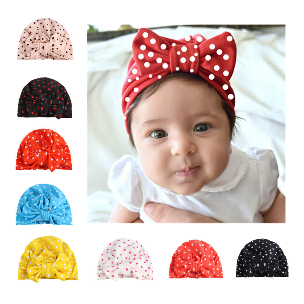 Warm Cute Dot Bow Knot Baby Elastic Cap Hat Headgear Toddler Headwear Infant Girl Toddler Comfy Bow Knot Cap Beanie Hats