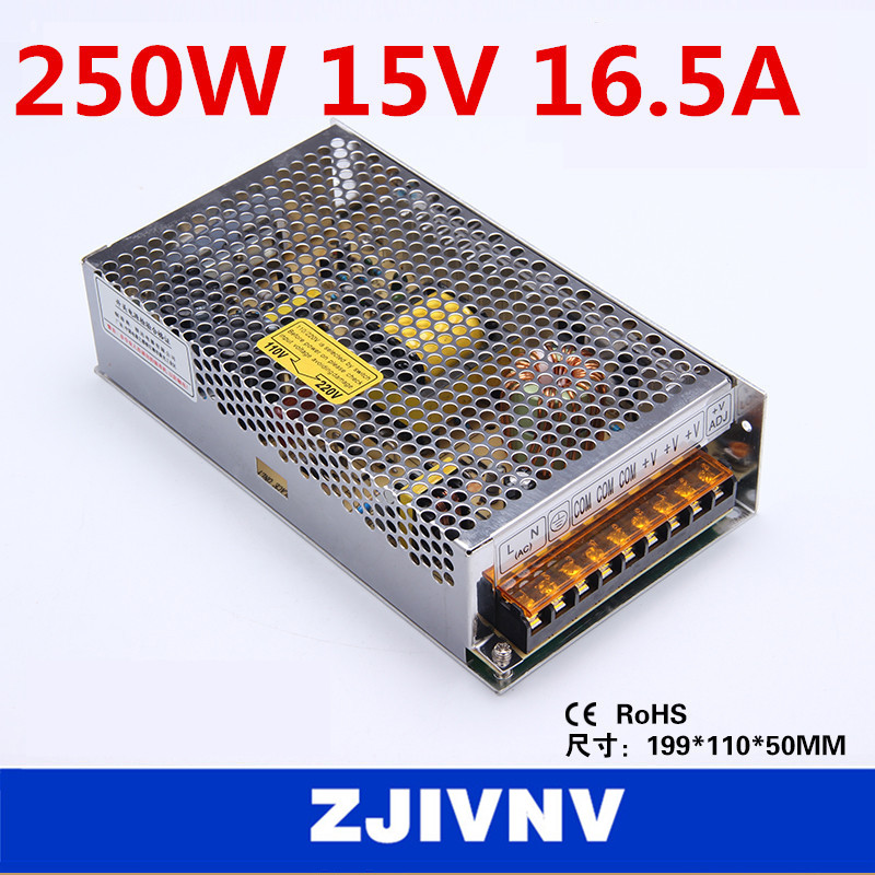 250W 15v 16.5a SMPS single output switching power supply for LED Strip light led power supply type:S-250-15