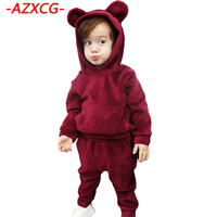 Girls Clothing Set 2017 New Fashion Boy Girl Winter Suit Children Cotton Casual Clothes Set Kids