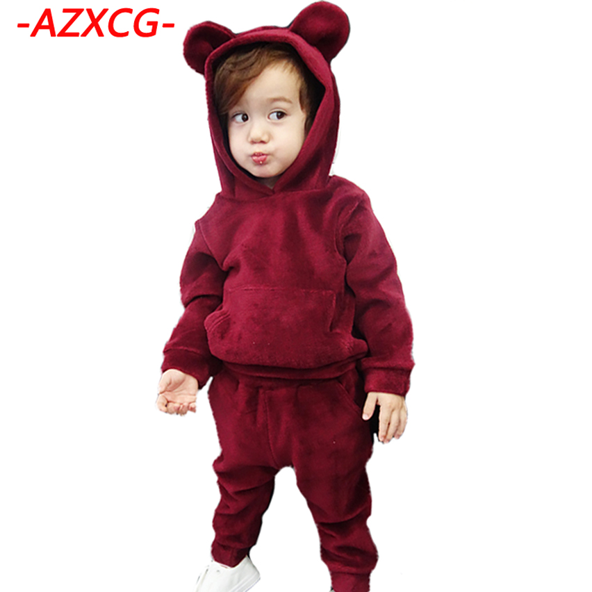 Girls Clothing Set 2017 New Fashion Boy Girl Winter Suit Children Cotton Casual Clothes Set Kids Soild Tracksuits Girl Clothing 2015 summer brand baby boy set children three piece suit set 3pcs girls new cotton spring casual clothing child year suit 3 pcs