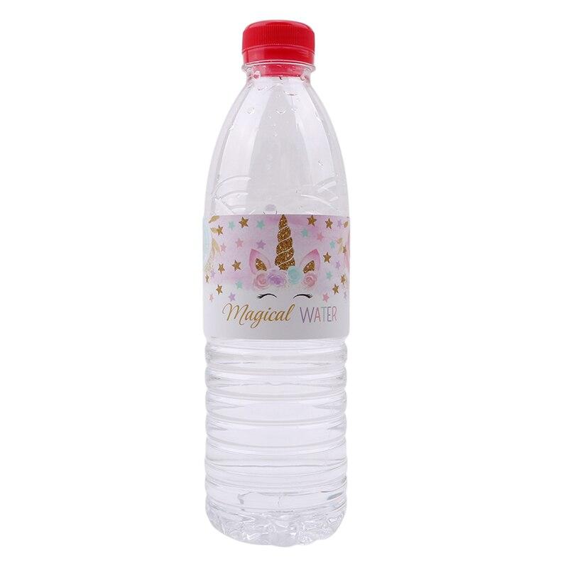 Set Botella del Unicornio Pegatinas Baby Shower Fiesta De Cumplea/ños del Unicornio Decoraci/ón Decoraci/ón De La Boda Etiqueta De La Botella Pegatinas Blanca AMOYER 24pcs