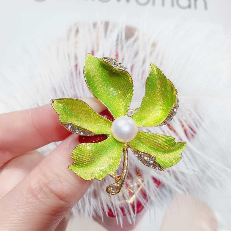 SHDIYAYUN nuevo broche de perlas esmerilado dorado broche para mujeres broche de oro alfileres de perlas naturales de agua dulce Dropshipping