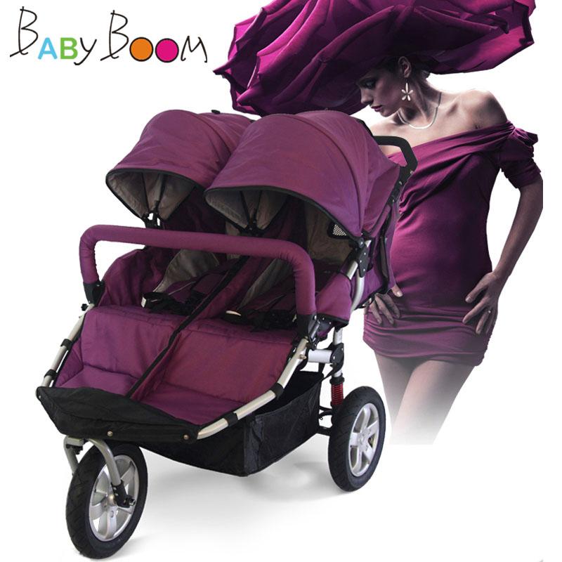 Babyboom off-road twins baby stroller shock pneumatic wheels double baby stroller babyboom off road twins baby stroller shock pneumatic wheels double baby stroller