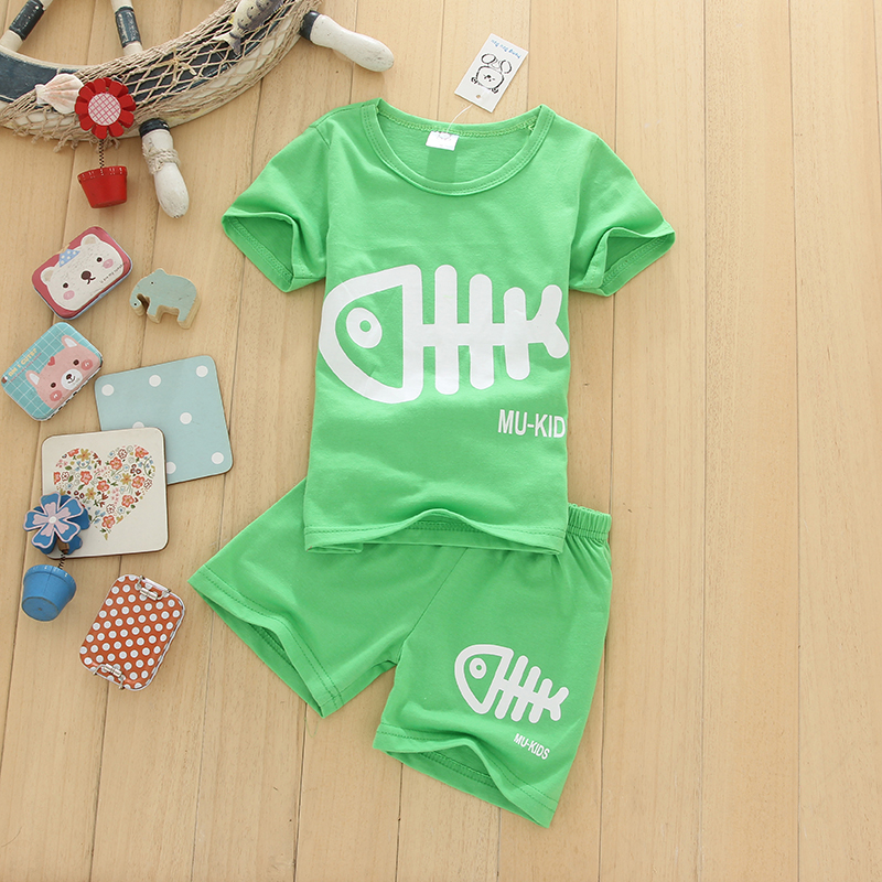 Hot Sale New Leisure Retro Cotton Baby Boy Suit 2016 Summer Korean Children's Short-sleeved Suits + Kids Shirt Shorts Pants
